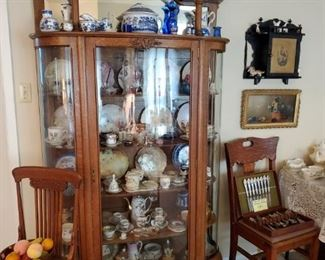 Beautiful 1800's golden oak, bow front China Cabinet