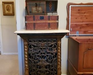 ANTIQUE Iron Furnace and ANTIQUE Table Top Trunk