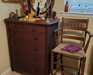 Antique Chest of Drawers with Mirror...1 of 2 Antique tall, rush seat Chairs