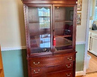 "$375 - Vintage china cabinet.  35.5"" W, 15"" D, 78"" H."