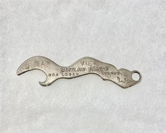 """""""Bay View Bottling Work's"""" Seattle, Washington advertising beer bottle opener. Marked with address of 305 Logan Avenue. Opener in the shape of a mermaid with """"PATD"""" on the front. Measures 3"""" long. Good condition and no damage. Bay View was in business from 1883-1913. A rare find. $65"""