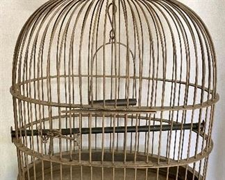 """Old brass parrot cage with swing and perch, wooden top. Measures 30"""" tall. $65"""