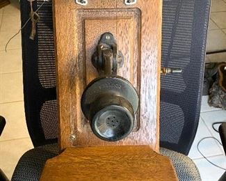 """Rare """"Stoddard"""" oak crank  wall phone. All the internal mechanism's are there. Does not have the ear piece. The metal holder for the earpiece  has one side broke off but has the piece with it.  $200"""
