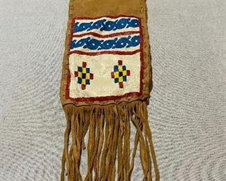Elk skin painted fringed bag. $45