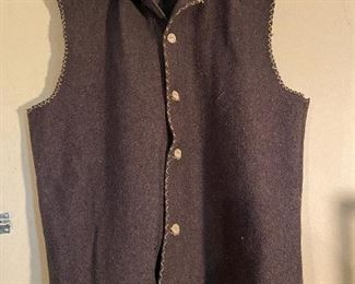Rendezvous Mountain Man wool vest with bone buttons, size Large. $25