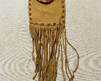 Elk skin fringed bag. $25