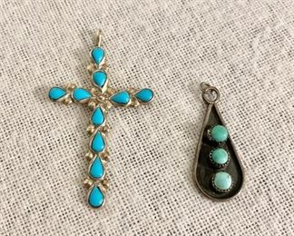 """Sterling silver & turquoise cross (marked Sterling) measures 5"""" long and sterling & turquoise pendant. Both pieces $40"""