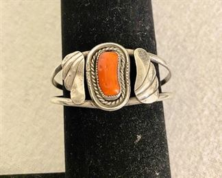 """Beautiful """"1960's"""" sterling silver and coral stone bracelet. Unmarked. $95"""