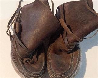 Hand made leather mocassins, approximate size is 9 1/2 or 10.  $125