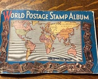 """Old stamp album """"1930"""" with lots of old stamps not in the book, see additional photos for descriptions. Approximately 270 stamps. $30 for album and additional stamps pictured."""