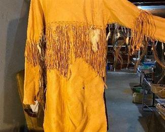 Elk skin leather fringed poncho/war shirt - $200
