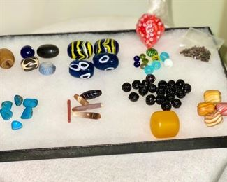Older glass beads from mountain man Rendezvous trading. (54 beads plus two bags of mini beads) $40