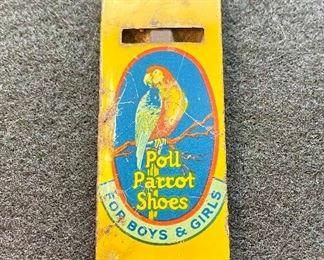 """""""Poll Parrot Shoes"""" advertising whistle. Manufactured in the 1930's-40's-50's. Measures 2 1/2"""" long. $18"""