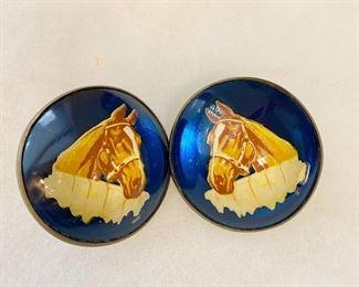 Vintage Horse Bridle Rosettes. Pair $36