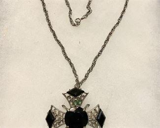 "Vintage ""1950's necklace signed BSK. Beautiful black stones. $25"