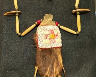 Bear claw, badger and quillwork necklace.  $75