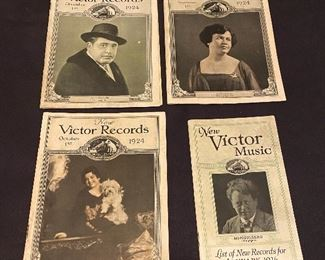 """Victor Records """"1924"""" & """"1926"""" booklets of new records of the latest additions to the great Library of Music which is listed in the Victor Record Catalogue. (4) $14"""