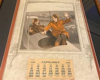 """Framed and matted Calendar """"1928"""" Lloyd's Garage, Chanute, Kansas. A open cockpit plane photo. Verbage reads """"A Plane Fact We Make Good Welded Joints Electric and Acetylene"""". Great condition! $125"""