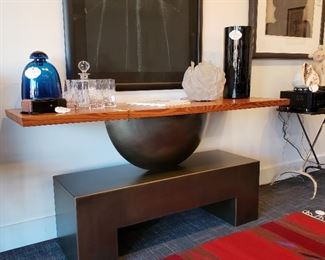 Iron base console table with solid wood top would make a great television console