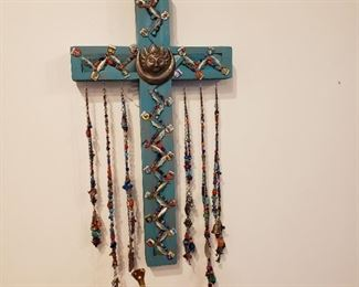 Southwest cross with sterling charms
