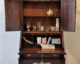Gorgeous antique secretary. Showing inside view. Perfect size. Not too big!