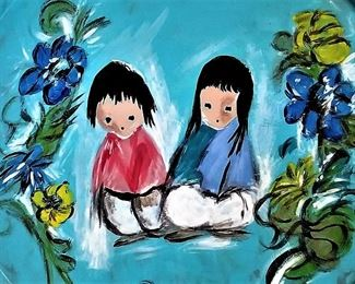 """The beloved DeGrazia art on a plate.                           Ettore """"Ted"""" DeGrazia (June 14, 1909 – September 17, 1982) was an American impressionist, painter, sculptor, composer, actor, director, designer, architect, jeweler, and lithographer. Described as """"the world's most reproduced artist"""", DeGrazia is known for his colorful images of Native American children of the American Southwest and other Western scenes. DeGrazia also painted several series of exhibitions like the Papago Legends, Padre Kino, Cabeza de Vaca."""