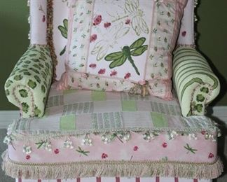 Round Top at its Best!! Hand Painted Dragon Fly Custom Upholstered Vintage Wingback Chair with Matching Pillow