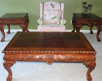 """Chippendale Style Ball & Claw Foot Cocktail/Coffee Table(52""""W X 34""""D X 20""""H) and 2 Occasional/End Tables (26W"""" x 28""""D X 25""""H) Also shown"""