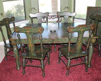 """Pulaski Furniture Company Green Stenciled Table.   (44""""x 66"""") with Lined Drawer at each end and a 24"""" Leaf shown in back ground and  6 Matching Side Chairs"""