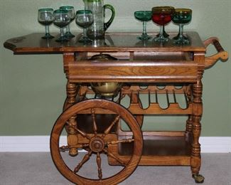 """Pulaski Furniture Co.Solid Oak  Bar Cart (30""""W x 20""""D x 31""""H) with 14"""" Drop Leaf and Towel Bar. Glass insert Top over  Drawer with Brass Ice Bucket Insert  above 6 Bottle Wine Storage Rack and Lower Shelf ("""