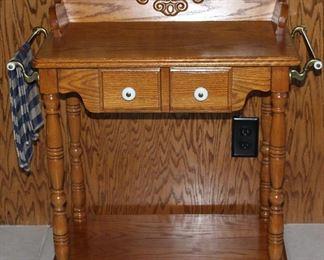 "Pulaski Furniture Co Oak Wash Stand w/Brass Towel Bars, Single Drawer w/Porcelain Pulls on Turned Legs and Paw Feet with Lower Shelf (24""H x 24""W x 15 3/8"")"