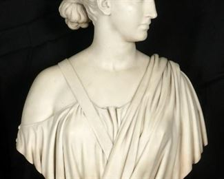 Hiram Powers Marble Bust of Diana