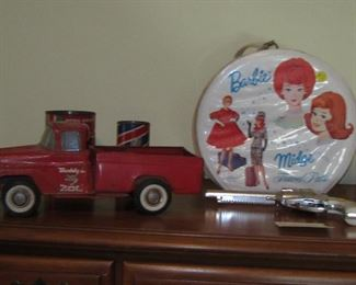Barbie Case, Buddy L Truck, Cap Gun