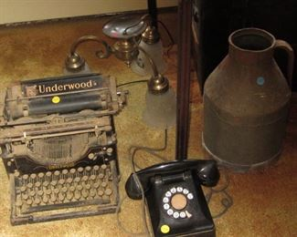 Old Typewriter, Phone, Milk Can