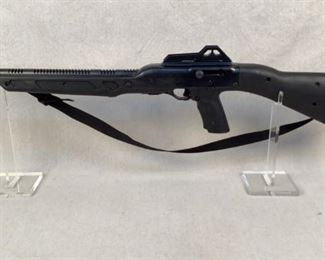 """Serial - A38991 Mfg - Hi-Point Model - 995 Caliber - 9mm Luger Barrel - 16"""" Magazines - 0 Qty - 1 Type - Rifle, Semi Automatic Located in Chattanooga, TN Condition - 3 - Light Wear This is a Hi-Point 995 Carbine chambered in 9mm. Featuring an all weather polymer stock, fully adjustable rear sight, side charging handle, and 16"""" barrel with compensator.  ***This rifle does not come with a magazine***"""
