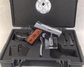 """Serial - EMP34625 Mfg - Springfield Armory Model - EMP Compact Caliber - 9mm Luger Barrel - 3"""" Capacity - 9+1 Magazines - 3 Qty - 1 Type - Pistol Located in Chattanooga, TN Condition - 3 - Light Wear If you are looking for a 1911 chambered in 9mm to carry every day, here is the Springfield Armory 1911-A1 EMP. The EMP action is 1/8"""" shorter than the original 1911. The short distance increases the reliability of the EMP which is great for a conceal carry pistol. Like other 1911 style pistols, the EMP has both a beavertail grip safety and an ambidextrous thumb safety, providing more peace of mind when carrying it but can be quickly manipulated when needed. This pistol comes with factory box, 3 magazines, holster, mag pouch, lock, brush, and manual."""