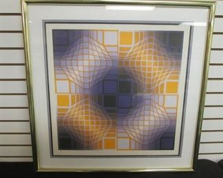 """Framed Vasarely Color Serigraph """"Firaxo II"""", 101/250,   34"""" x 35"""", Hand Signed"""