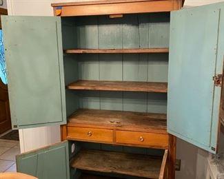 """4-Primitive cabinet pine & painted blue inside $395 39 ½""""L x 6'T x 16 ½""""D"""