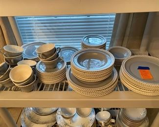 7- RARE China set HARKER pate sur pate dove grey and white -11 lunch plates , 6 dinner plates, 8 sandwich plates, 10 soup plates, 18 B&B plates, 6 dessert, 5 bowls, 8 small pudding bowls, 15 cups & 10 saucers, 6 serving pieces- total 103 pieces  (very good condition a couple of plates have rim a bit chip) 		$295 for the set.