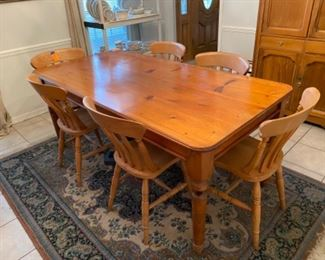 """2-English farm table 6' L x 35 ½""""W x 30""""H $325 25 ½"""" clearance to the table"""