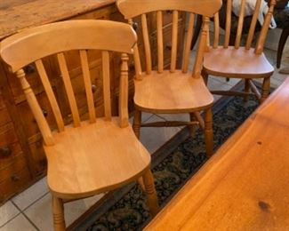 3-	Set of 6 English pine chairs 	$295
