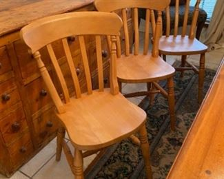 3-Set of 6 English pine chairs $295