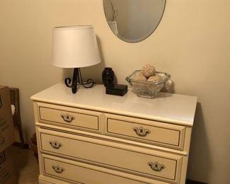 bedroom furniture, bedroom decor, table lamp, wall mirror