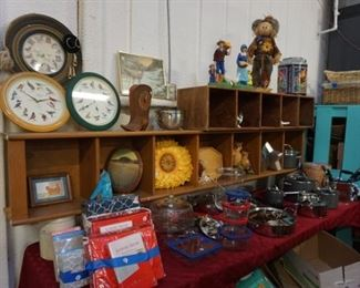 clocks, new sheets, pots and pans, decor, food storage