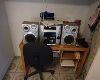 stereo, small desk, chair