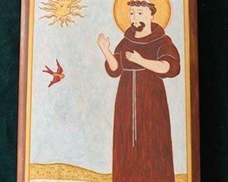 """**Now $35** $65  St Francis retablo by Johnny Lorenzo 2014, 10 1/2"""" x 7 1/2"""""""