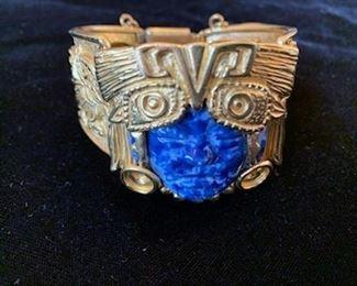 """**Now $65** $125   Salvador Feran for Marbel 22K plated 6 1/2"""" bracelet, ca 1960"""