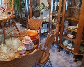 Johnson Brothers. Old English Castles dishes, Set of 8 oak chairs, lots and lots of beautiful glass and dishes!