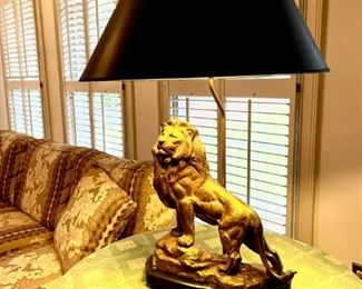 Large brass cast lamp--must see!