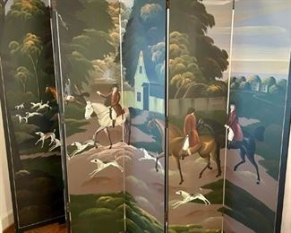 Hand painted partition Screen depicting a fox hunt